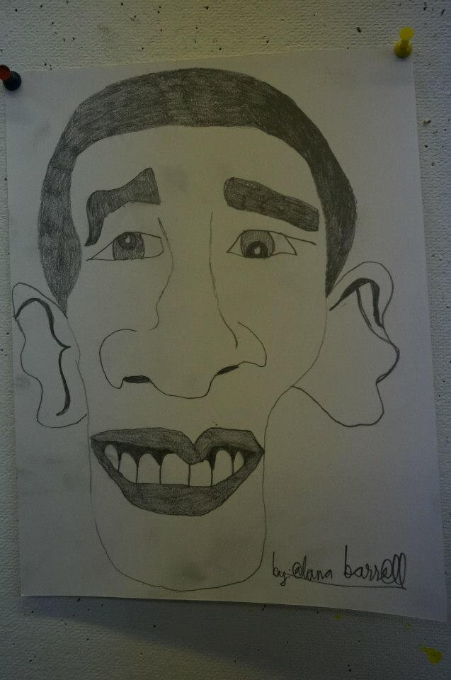 Barack Obama Sketch by Alana Barrell