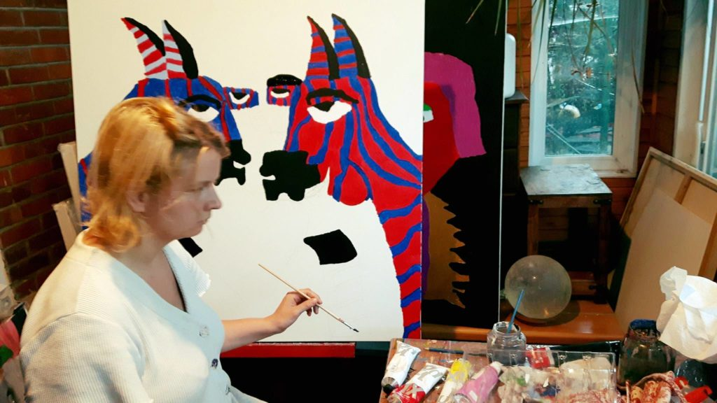 Alana Barrell Painting Zebras Preparing for Exhibition